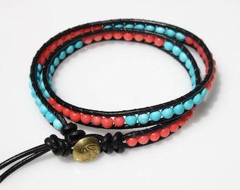 Wrap Beaded Bracelet, Friendship Bracelet, Leather Bracelet, Turquoise, Coral Beads Bracelet, Teen Bracelet, Beach Bracelet, Summer Jewelry