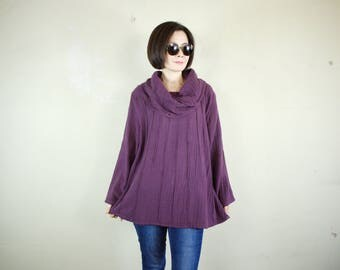 SALE - Long  Sleeve Cocoon Cowl Neck Pullover Plum Light Double Gauze Cotton Blouse With Light Cotton Lining - AT326