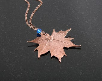 Rose Gold Maple Leaf Necklace with Blue Charm, Canadian Maple Leaf, Rosegold Necklace