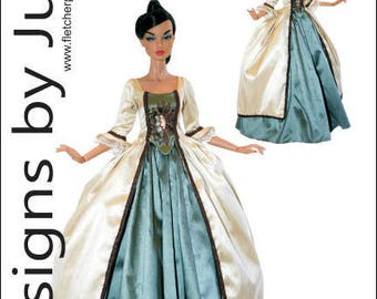 "PDF Outlander Claire Fraser Dress Pattern for 16"" Poppy Parker Dolls Integrity"