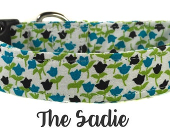 Navy and Green Patterned Dog Collar - The Sadie