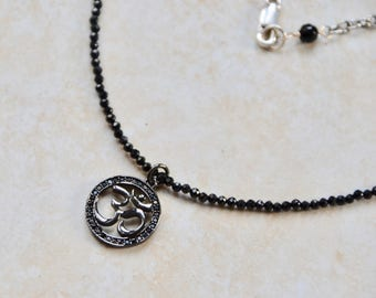 Black Om Buddha Spinel choker length necklace silver chain yoga inspired jewelry