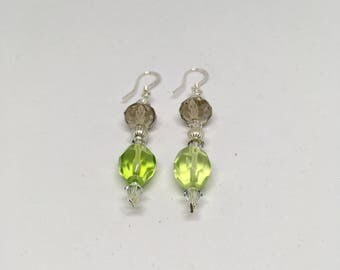 Glass and Crystal Earrings / Plated Silver