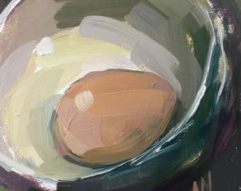 Farm Egg in Bowl Original Still Life Oil Painting by Angela Moulton pre-order