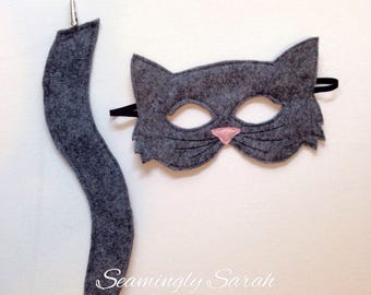 Child's Felt Cat Mask and Tail - Halloween, Costume, Dress Up, Kitten, Kitty, Kat