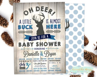 Little Buck Baby Shower, BABY BOY Shower Invitation, Deer Baby Shower Invitation, Deer Baby Shower Invite, Hunting Baby Shower, Arrow, Wood