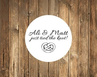 We just tied the knot stickers -Wedding Stickers-Pretzel Stickers