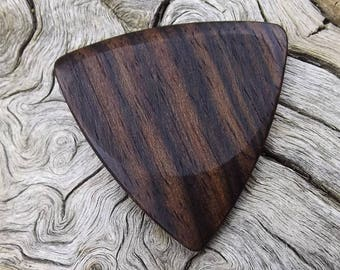 Wooden Tri-Tip Guitar Pick - Premium Quality - Handmade From Mun Ebony Wood - Actual Pick Shown - Artisan Guitar Pick