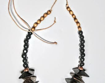Leather and Wood necklace