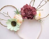 Fall floral Minnie Mouse ears. Mickey ears. Floral minnie ears. Minnie ears