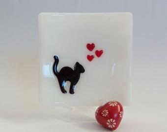 Cat with Hearts // Fused Glass Dish // Pet // Feline // Friend // Love // Cheerful // Fun // Trinket // Classic // Black Cat // Unique