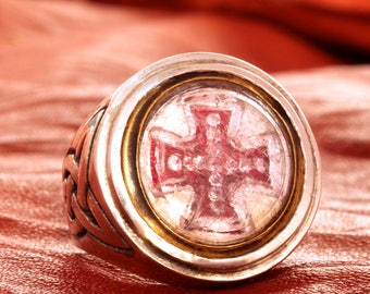 Victorian Red Cross Ring In solid sterling silver one of a kind sz 9.5 to 10 Blue Bayer Design NYC