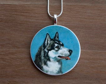 Husky Pendant Necklace, Husky Necklace, Husky Jewelry, Handcrafted Jewelry, Gift for Dog Lovers, Free Shipping in US
