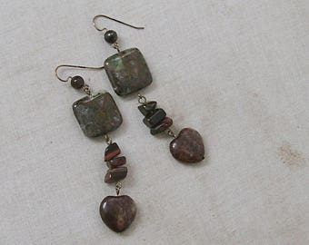 Ziosite and Sesame Jasper Heart Earrings with Red Tiger's Eye on Gold, Brown, Green, Red, Gold
