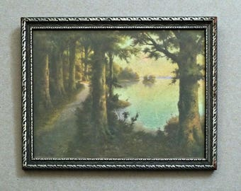 Spooky Path Through Forest by Lake Vintage Framed Lithograph