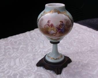 Small Victorian 'Vase', Antique Porcelain Footed 'Vase', 1800's, Unique Vintage Porcelain, Ornate, Gilt Gold