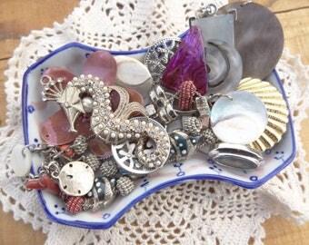 Vintage jewelry lot - Sea Jewelry - Nautical - Pearl Rhinestone Sea Dragon - Shell Pendants - Sea Bracelet - Shell - Faux Abalone - D140