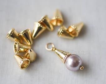 10pcs Gold Bead Caps 8x6mm, Gold plated Brass Tassel Caps, Lead Nickel Free (GB-111)