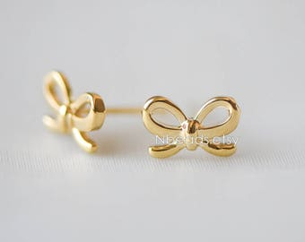 10pcs Gold plated Brass Bow knot Ear Stud Posts  (GB-139)
