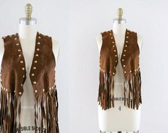 ON SALE 1960's studded suede fringe vest