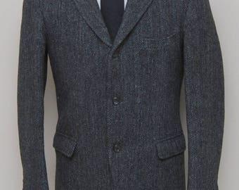 Vintage 1950 men's grey herringbone tweed blazer/ 50s men's tweed blazer/ Harris Tweed