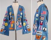 RARE vintage 70s handmade denim jacket covered in PATCHES / Ultimate hippie denim jacket / 72 patches / Big BELL sleeves