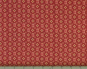 Tan Floral on Red 100% Cotton Quilt Fabric for Sale, Kim Diehl's Katie's Cupboard Collection for Henry Glass Fabrics, HEG6677-88
