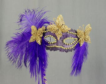 Gold Purple Mask, Butterfly Mask, Masquerade Mask, Halloween Mask, Mardi Gras Mask, Gold Mask