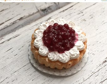ON SALE Miniature Cherry and Whip Cream Cake, Dollhouse Miniature, 1:12 Scale. Dollhouse Food, Miniature Food, Dessert, Whip Cream Cake
