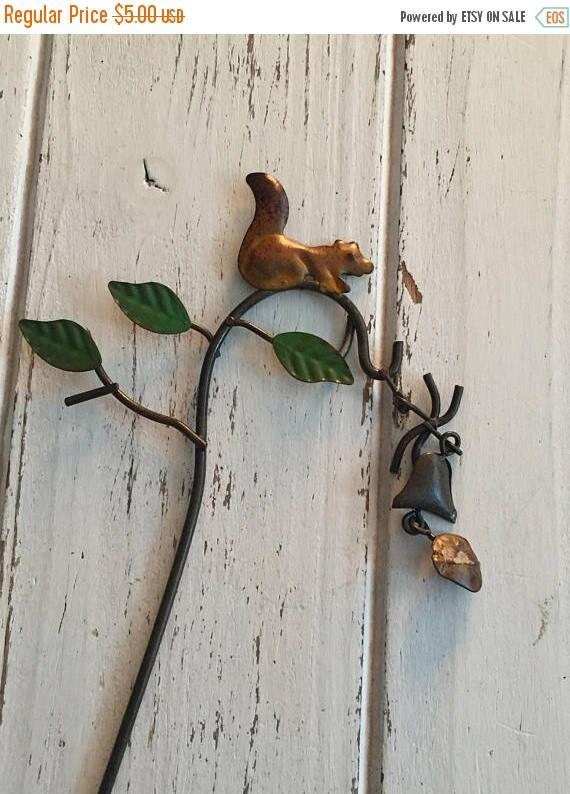 SALE Mini Squirrel Wind Chime on Shepherds Hook, Fairy Garden Accessory, Miniature Garden Decor, Metal Garden Decor