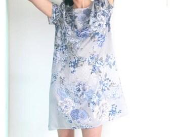 Light blue summer dress, floral short dress, short A-line dress, print shift dress, short sleeve dress, short casual dress, loose fit dress