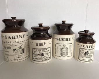 VTG Ye Olde Canadian Crock Prints Abenakis Beauce French Kitchen Canisters Jars