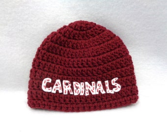 RESERVED - Maroon Cardinals Hat by Charlene, Photo Prop, Size 0 to 3 Months
