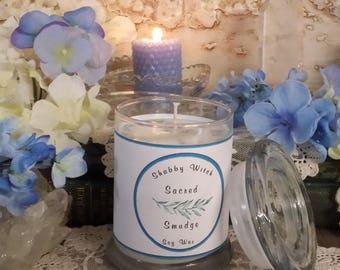 8.oz Sacred White Sage Candle, Smudging Candle, Jar Candle, Cleansing Candle, Altar Candle