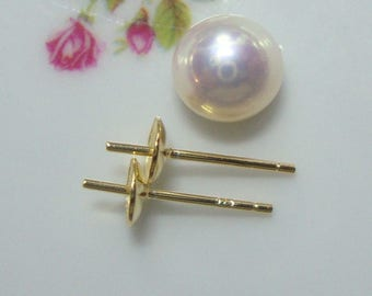 6 pcs, 18K Gold Sterling Silver 5mm Pearl Cup and Peg Ear Post, Hallmarked, EP-0038