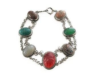 Art Deco Sterling Scarab Bracelet - Gemstone Bracelet, Carnelian, Tigers Eye, Chalcedony, Chrysoprase, Rhodonite, Art Deco Jewelry