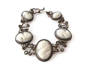 Antique Shell Cameo Silver Bracelet - Lady Women Profile, White Cameo, 800 Silver, Filigree Metal, Vintage Bracelet
