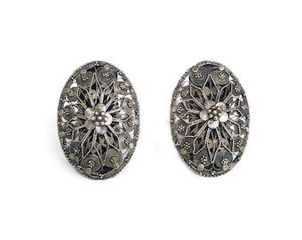 Silver Cannetille Filigree Earrings - Floral Pattern, 900 Silver, Etruscan Revival, Clip On, Vintage Earrings, Vintage Jewelry