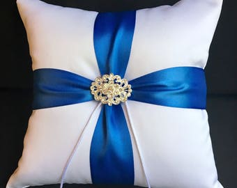 Rhinestone Brooch & Royal Blue Accent Ivory or White Wedding Ring Bearer Pillow