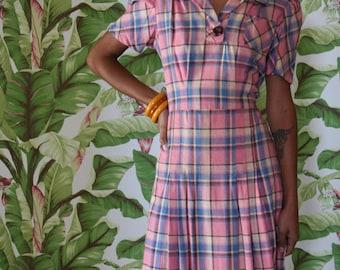 1930s Plaid Dress / Deadstock Dress / Pink /Thirties Forties Daywear /Gatsby Dress / Garden Party Dress / 1930's 1940's One Pocket Dress
