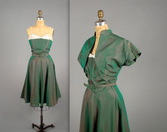 1950s iridescent sharkskin and sequins party dress • vintage green holiday dress • three piece dress set