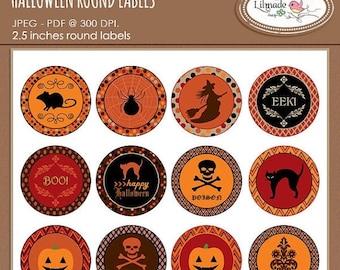 65%OFF SALE Halloween stickers, Halloween round labels, Halloween cupcake toppers, Halloween party decor, Halloween gift tags, Pr 308