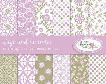 50%OFF Sage and lavender digital papers, scrapbook papers and backgrounds, commercial use patterned scrapbook paper, P146