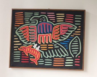 Vintage Mola Textile Art, Framed, by Kuna Tribe, Panama, From 80's, Tribal, Ethnic, Boho Chic Home Decor