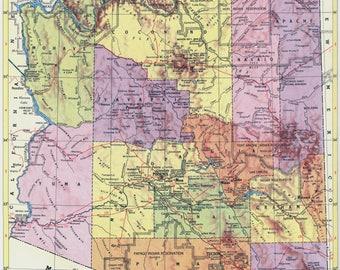 Large arizona map Etsy