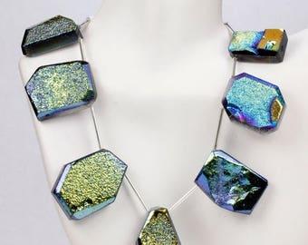 ON SALE Titanium Druzy, Titanium Drusy, Lime Green, Electric Blue, Gold, Bronze, Copper, Mixed Shapes, One Briolette