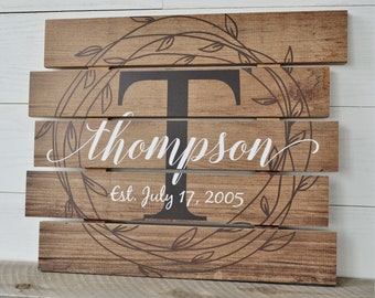 Personalized Family Name Sign Rustic Pallet Wood Monogram Wood 15x18