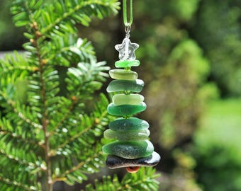 Genuine Sea Glass Delightful Tree Ornament Holiday Package Decor Stocking Stuffer Odd Green Mix and White Star Free Shipping Christmas Tree