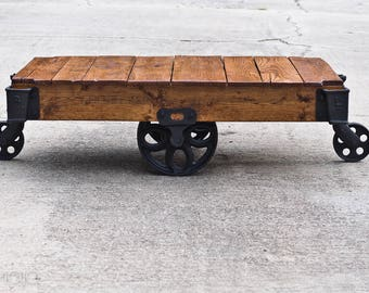 Attractive Factory Cart Coffee Table Vintage Industrial Cart Railroad Cart Industrial Table  Lineberry Cart