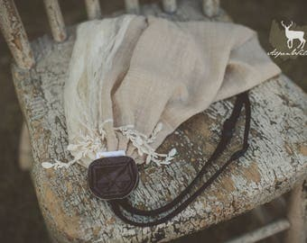 Beige Lace with Dangles Scarf Camera Strap
